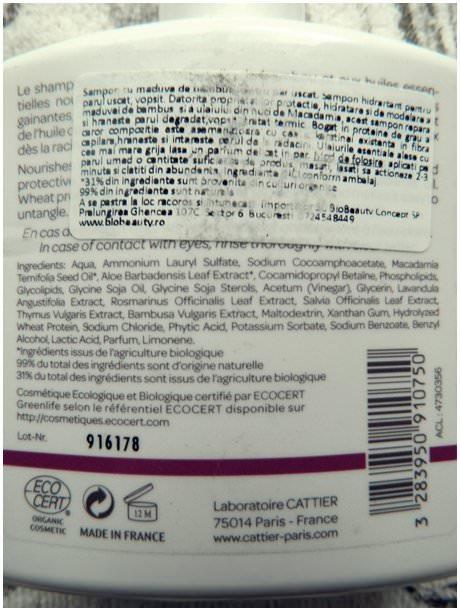 cattier shampoo ingrediente